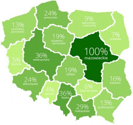 Popularność zapisów na zajęcia zumby w konkretnych województwach, w ciągu ostatniego półrocza (na podst. danych z serwisu FitPlanner.pl).
