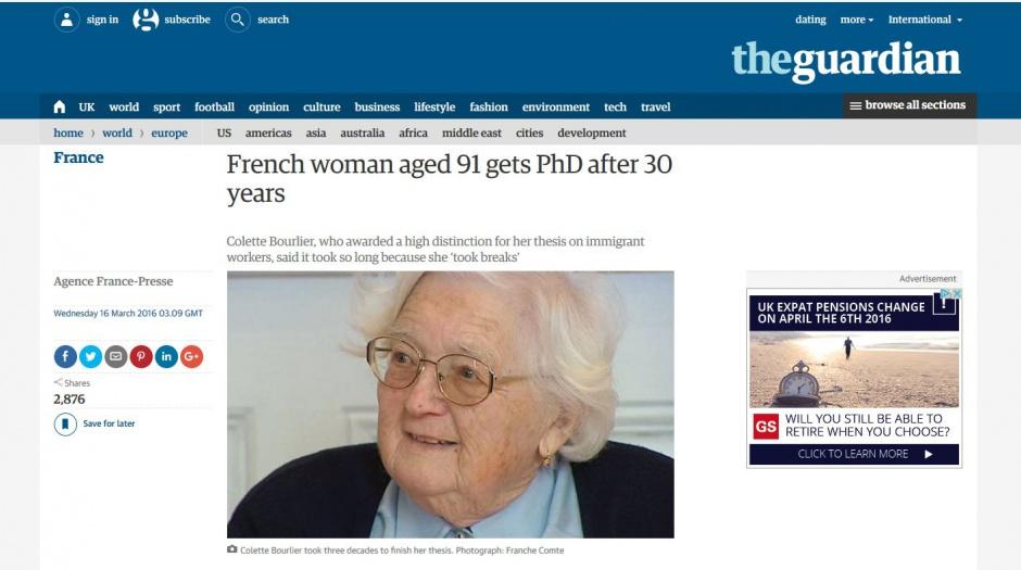 91-letnia Francuzka otrzymała doktorat po 30 latach