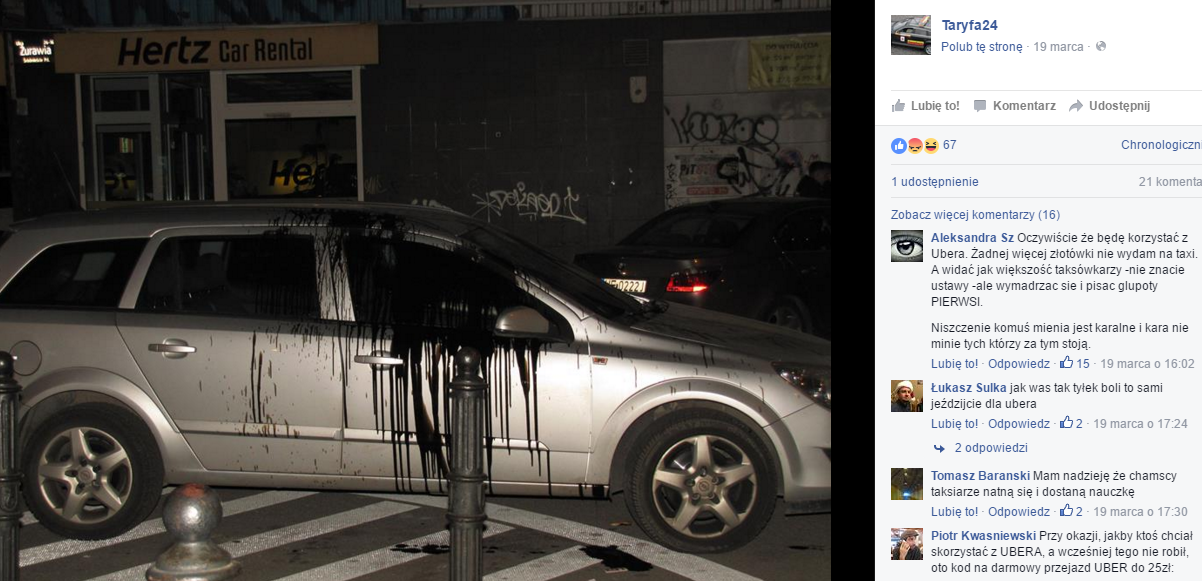Zdjęcie jednego z oblanych samochodów umieszczone na stronie Taryfa24.