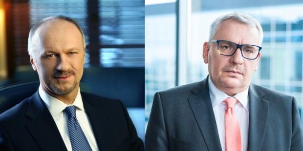 Do najlepiej zarabiających polskich prezesów należą m.in. prezes Citi Handlowego Sławomir Sikora (po lewej) z miesięczną pensją 407 tys. zł i prezes BOŚ Mariusz Klimczak (po prawej) z pensją ok. 90 tys.