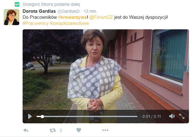 Dorota Gardias, szefowa Forum Związków Zawodowych deklaruje pomoc pracownikom Krowarzywa. (fot. Twiiter)