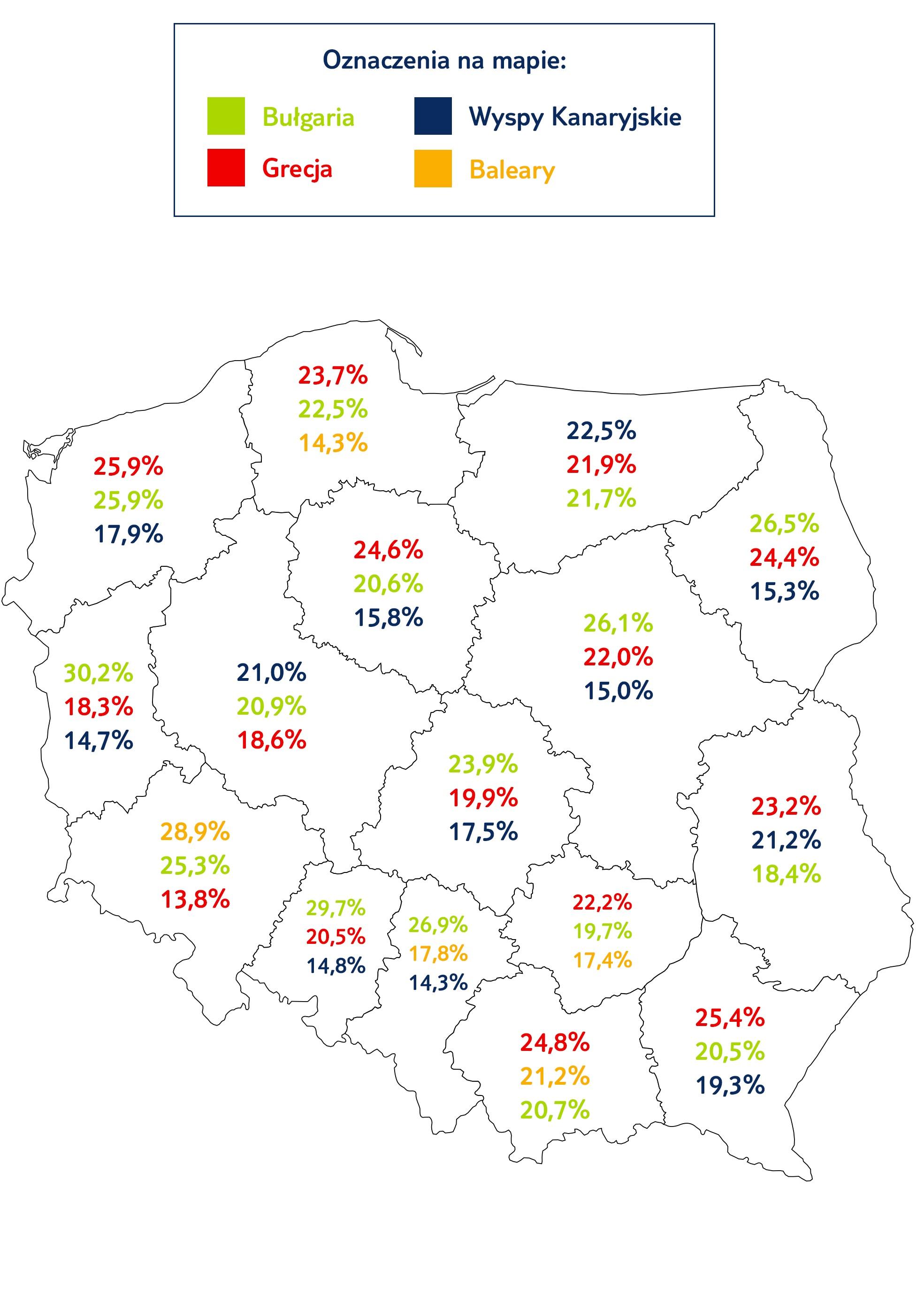 Najpopularniejsze kierunki wg województw (Źródło: TUI Polska)