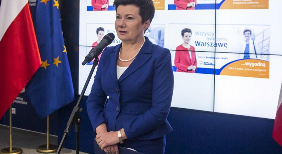 Warszawa: Hanna Gronkiewicz-Waltz rezygnuje ze stanowiska przewodniczącej warszawskiej PO