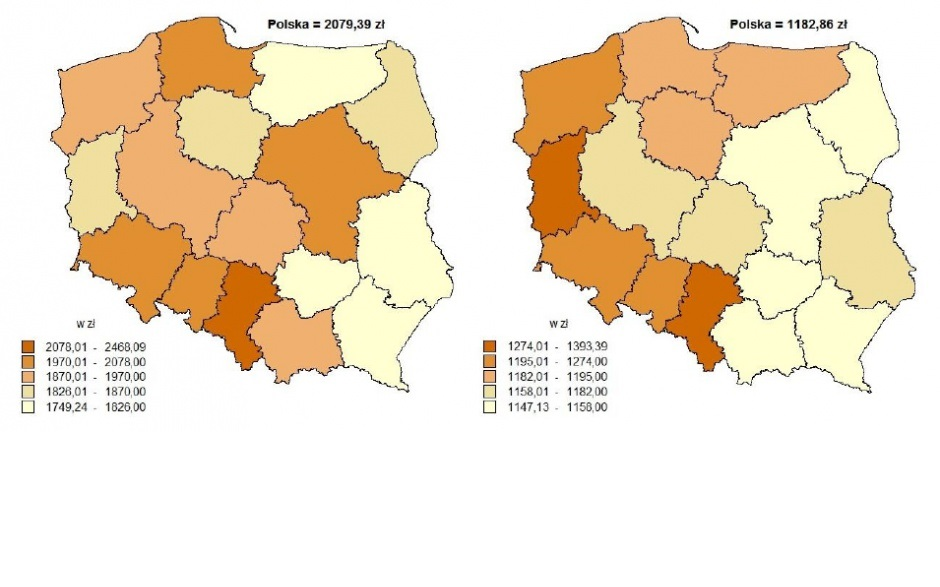 Przeciętna miesięczna emerytura i renta brutto w I półroczu 2016 r. z pozarolniczego systemu ubezpieczeń społecznych (mapka z lewej) i rolników indywidualnych