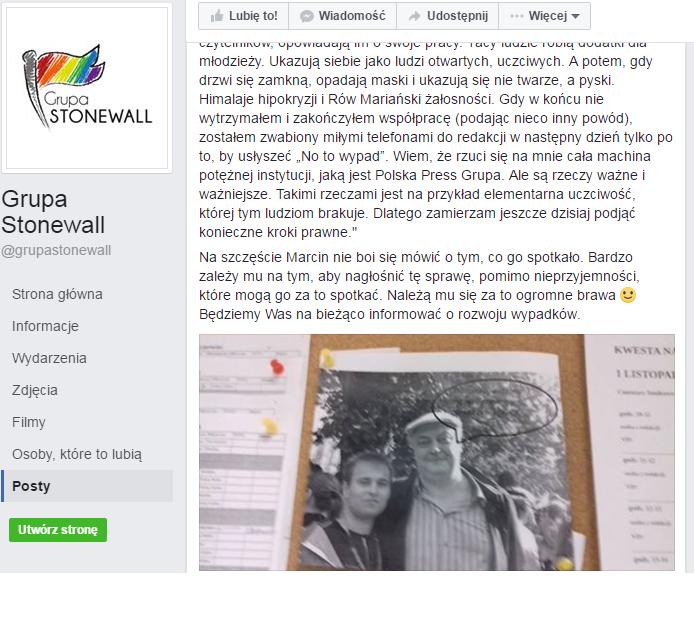 Zrzut wiadomości przesłanej do Grupy Stonewall. (Źródło: Facebook)