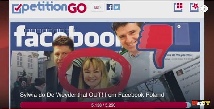 Petycja o odwołanie szefowej polskiego oddziału Facebooka. (fot. Max Kolonko, YouTube)