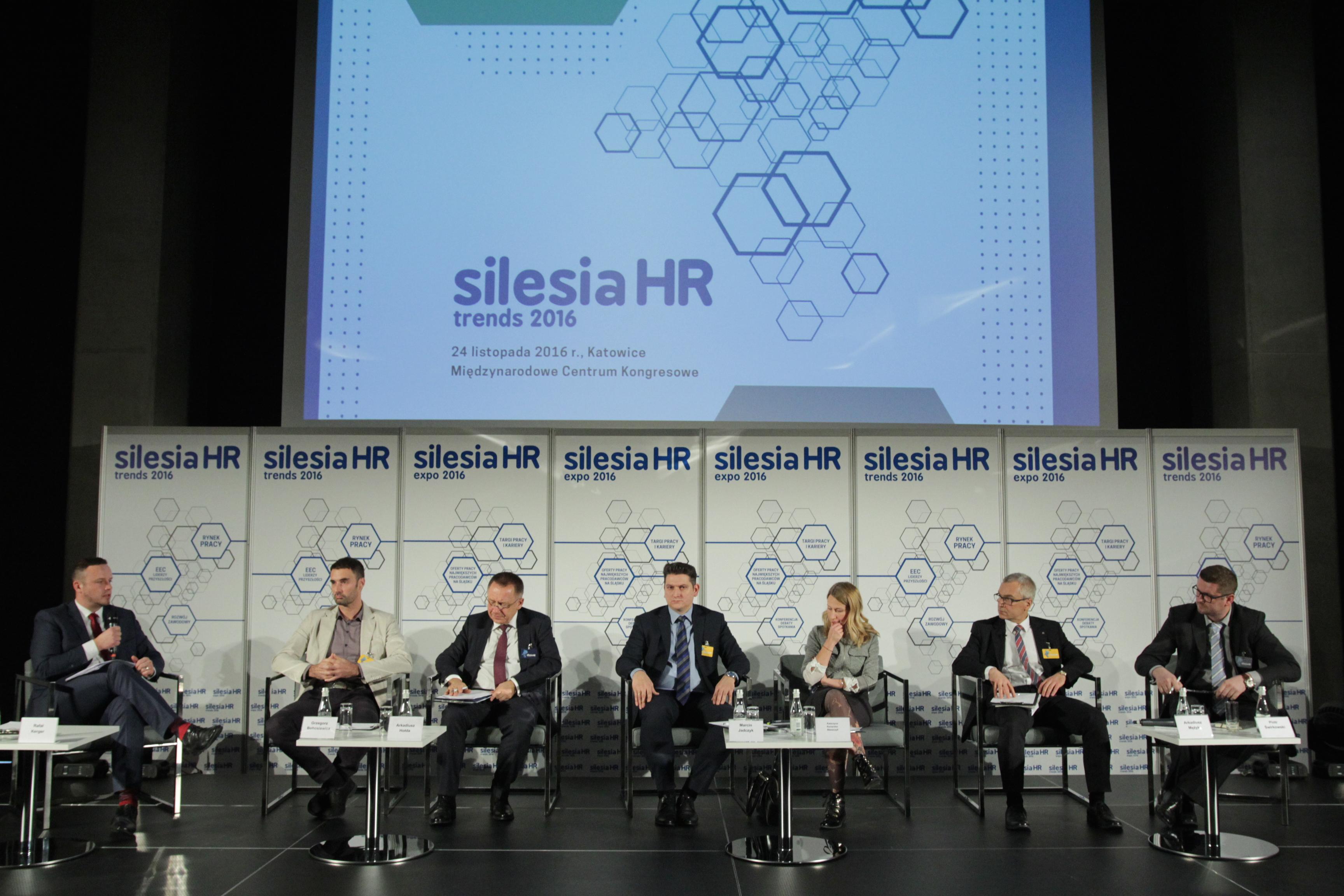 """Panel dyskusyjny """"W poszukiwaniu kompetencji technicznych"""", który odbył się podczas Silesia HR Trends w Katowicach. (Fot. PTWP)."""