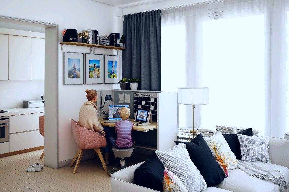 Idealnym rozwiązaniem jest wygospodarowanie miejsca na biuro w osobnym pokoju w mieszkaniu (fot.Mikomax/PropertyDesign.pl)