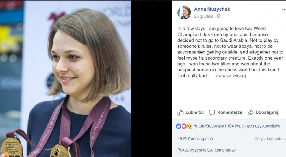 Szachowa mistrzyni świata protestuje przeciwko dyskryminacji kobiet