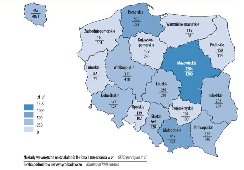 Nakłady wewnętrzne na działalność B+R na 1 mieszkańca według województw w 2016 r. (ilustracja - mat. GUS)