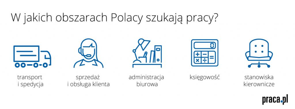 W jakich obszarach Polacy szukają pracy? (źródło: Praca.pl)