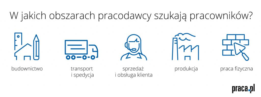 W jakich obszarach pracodawcy szukają pracowników? (źródło: Praca.pl)