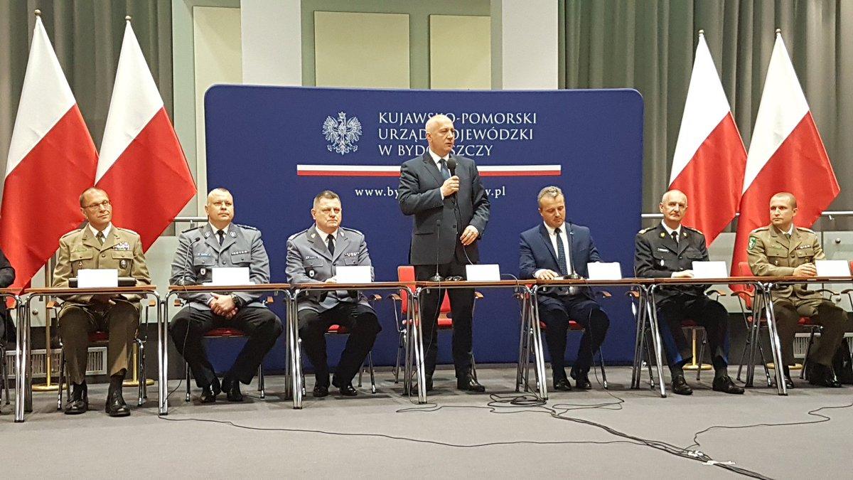 Minister Joachim Brudziński na odprawie służb mundurowych w Bydgoszczy (fot.twitter.com/MSWiA_GOV_PL)