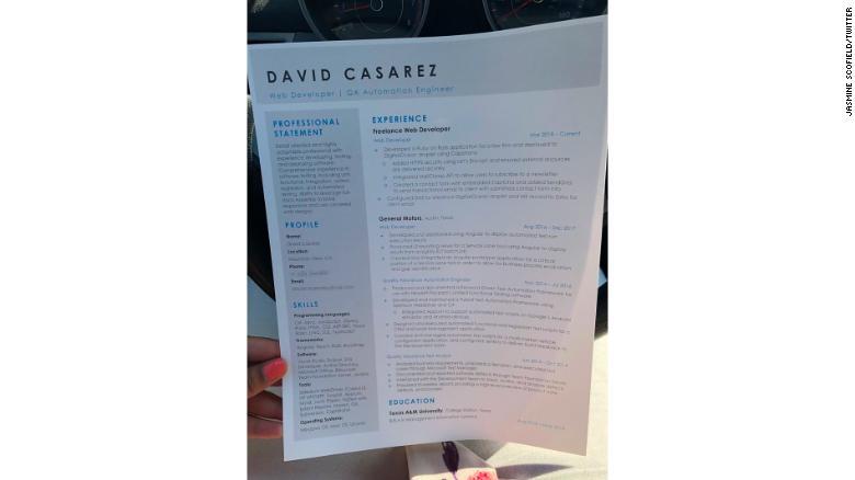 CV Davida. Fot. Jasmine Scofield / Twitter