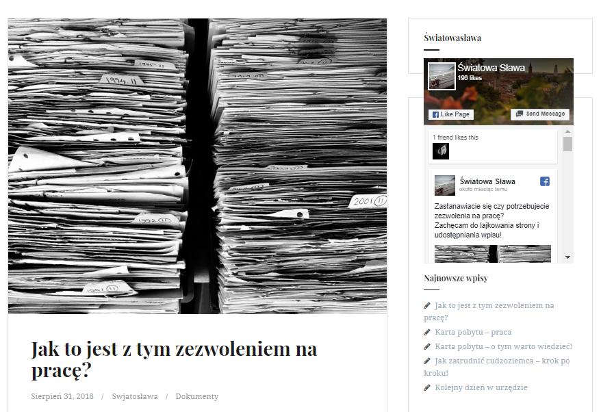 Swiatosława na swoim blogu najczęściej wyjaśnia zawiłości z dokumentacją potrzebną do podjęcia legalnej pracy w Polsce. (fot. swiatowaslawa.tk)
