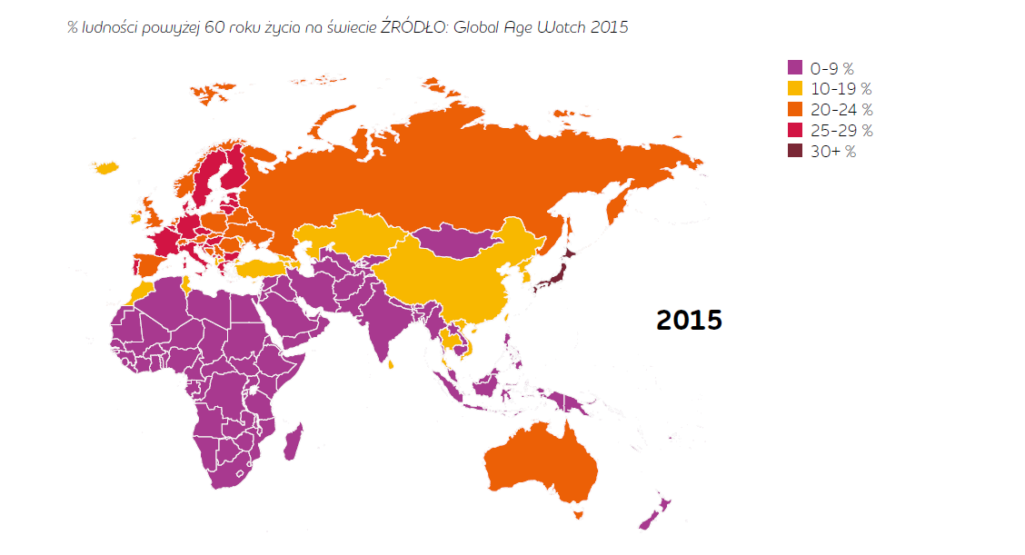 Zestawienie światowe populacji powyżej 60. roku życia jasno pokazuje, że Europa ma problem ze starzejącym się społeczeństwem (źródło: Adecco Group)