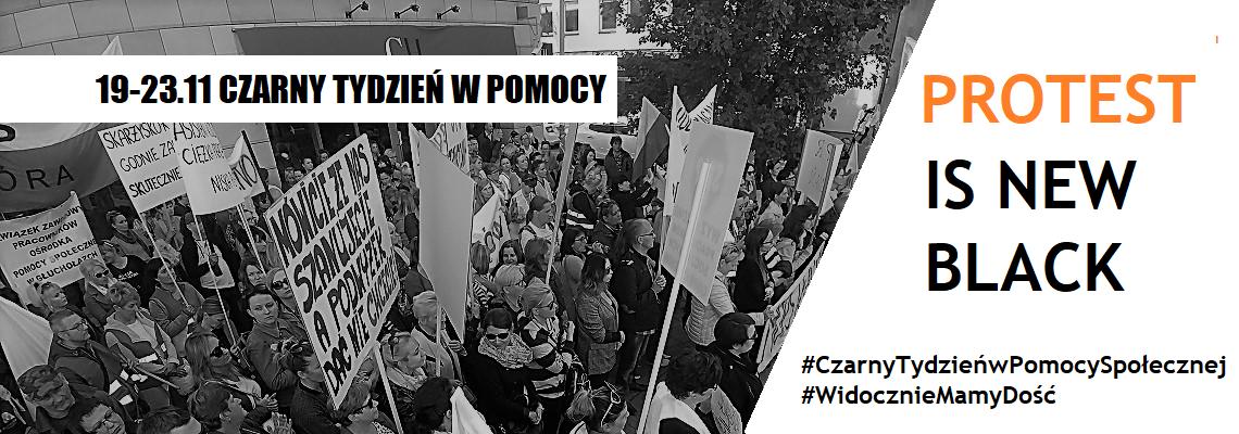Czarny Tydzień w Pomocy Społecznej (Fot. Facebook/Polska Federacja Związkowa Pracowników Socjalnych i Pomocy Społecznej)
