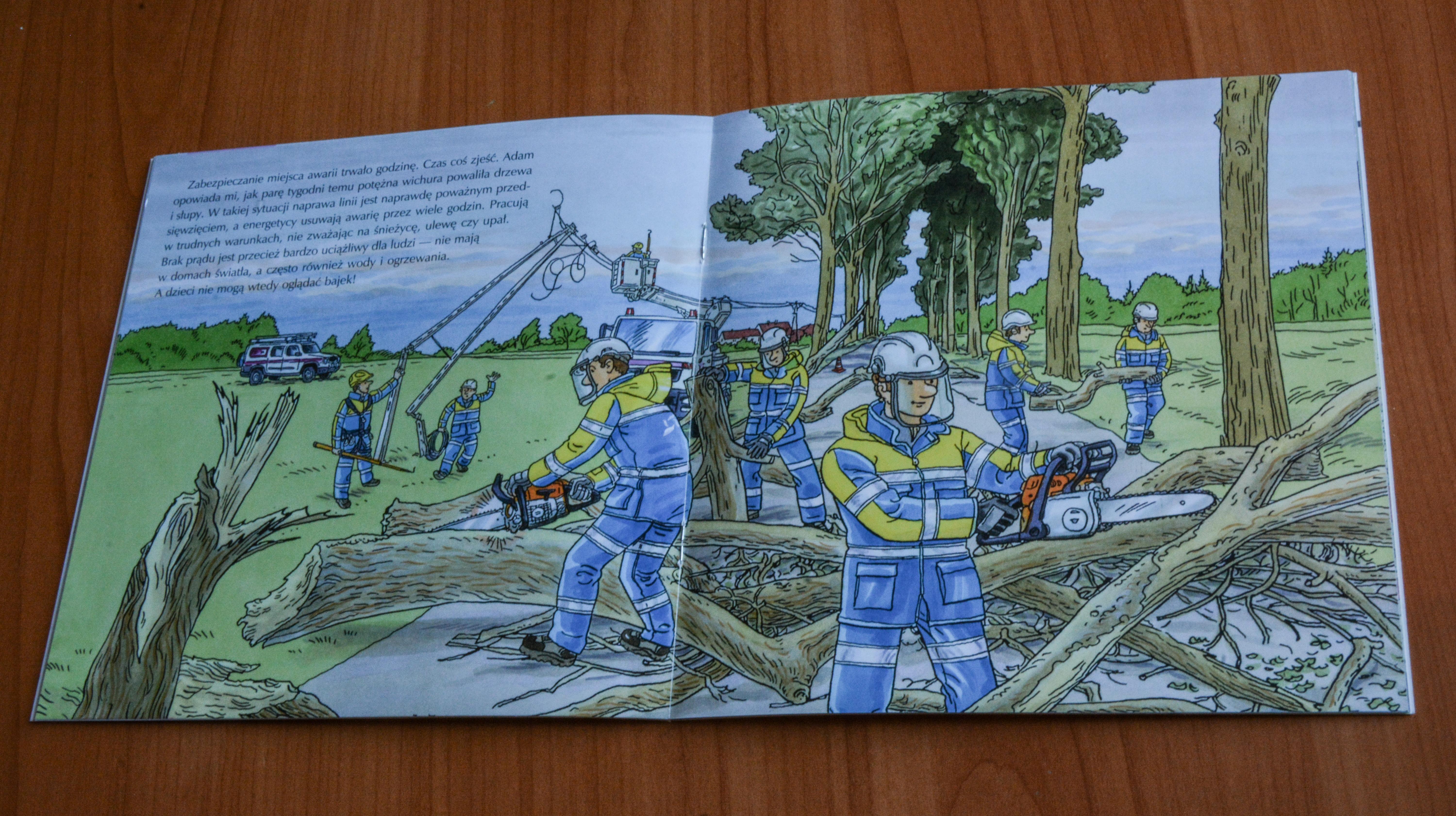 """""""Mam przyjaciela energetyka"""" to pierwsza w Polsce książeczka dla dzieci przybliżająca tajniki codziennej pracy energetyków. (Fot. mat. pras.)"""