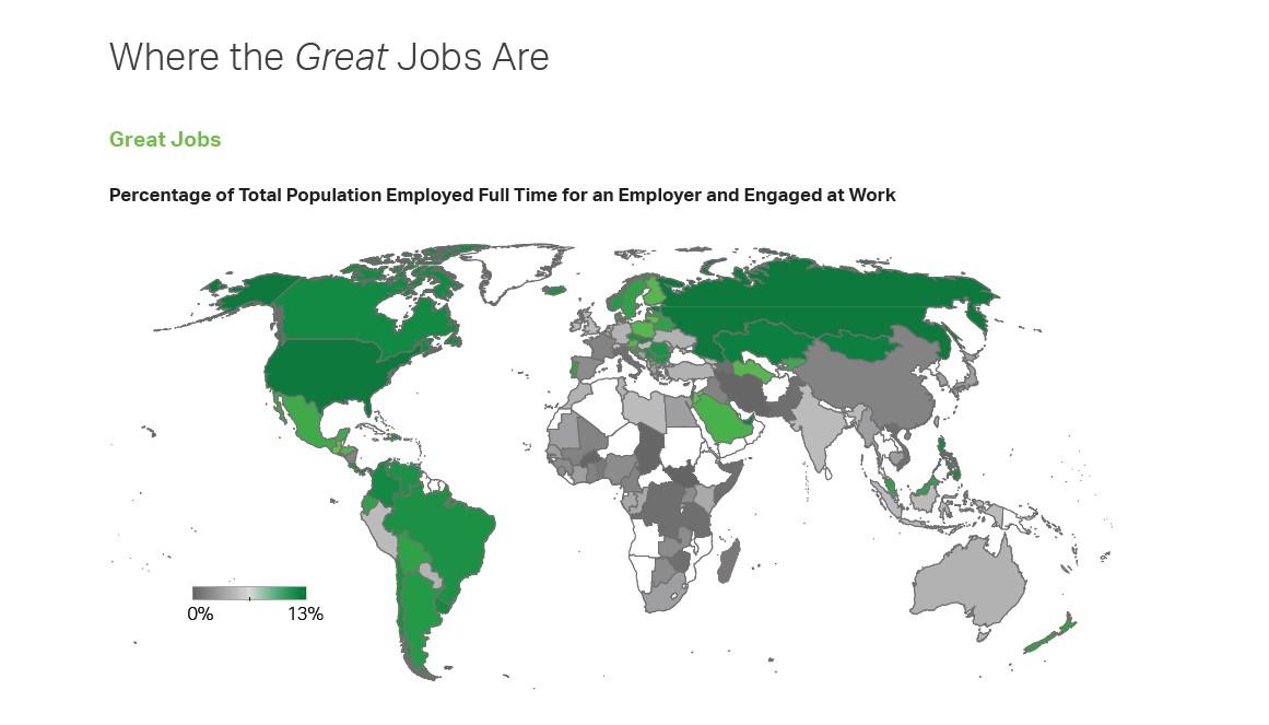 Kraje, w których największy odsetek badanych określa swoje miejsce zatrudnienia, jako świetne miejsce pracy. Źródło: Instytut Gallupa