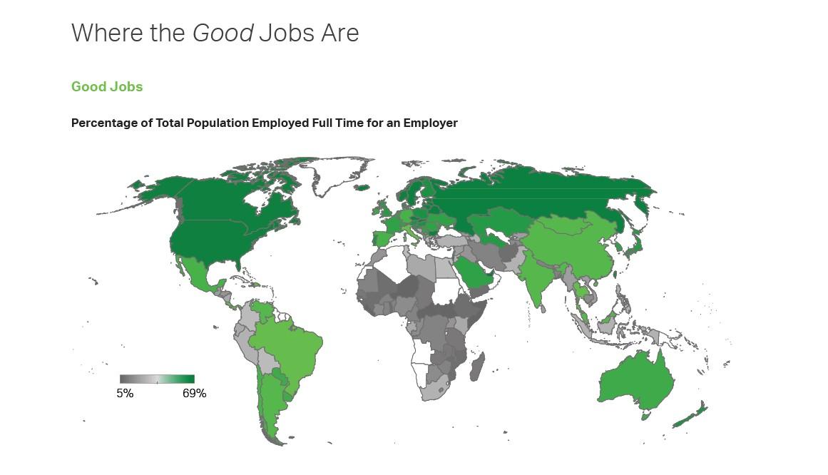 Kraje, w których najwięcej respondentów określa swoje zajęcie jako dobre z uwzględnieniem odsetka zatrudnionych na pełen etat. Źródło: Instytut Gallupa