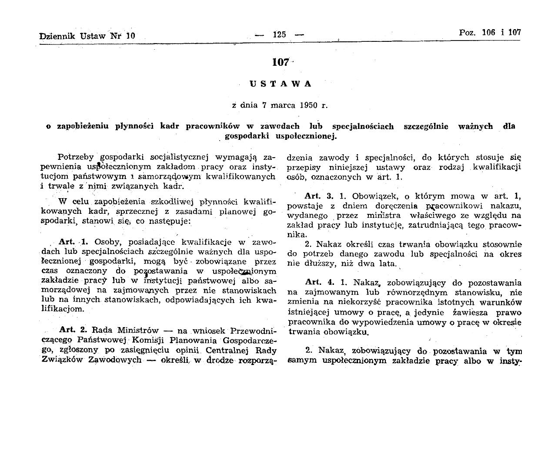 Ustawa z 7 marca 1950 r. na mocy której dano ministrom rządu PRL możliwość nakazania wykonywania pracy (źródło: prawo.sejm.gov.pl)