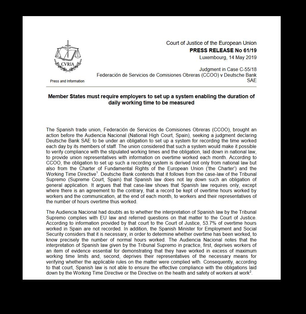 Wyrok Trybunału Sprawiedliwości Unii Europejskiej dotyczący sprawy hiszpański związek zawodowy Federación de Servicios de Comisiones Obreras (CCOO) wobec Deutsche Bank, który upubliczniono 14 maja 2019 r. (źródło:curia.europa.eu)