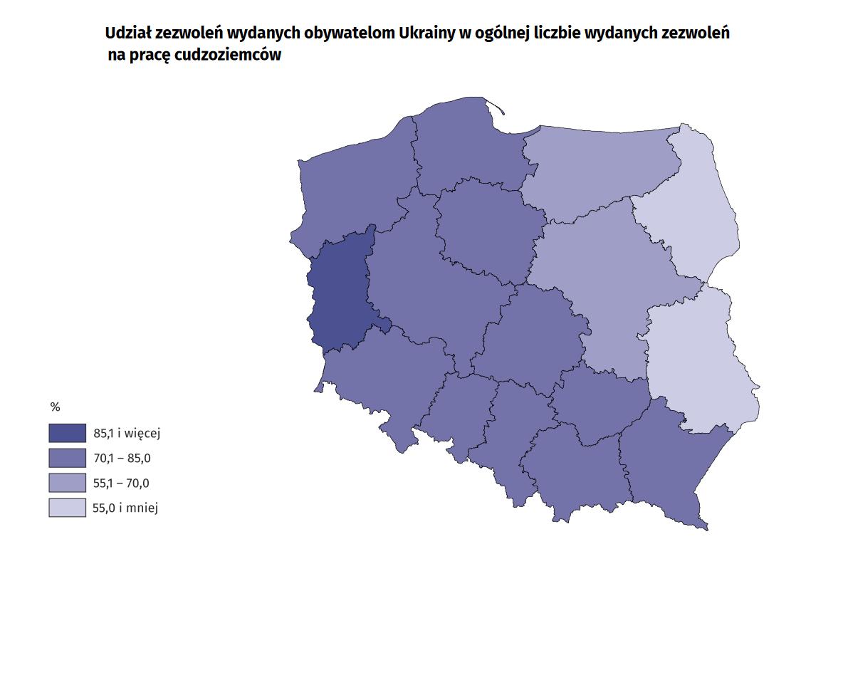 Udział zezwoleń wydanych obywatelom Ukrainy w ogólnej liczbie wydanych zezwoleń na pracę cudzoziemców. (źródło: GUS/materiały prasowe)
