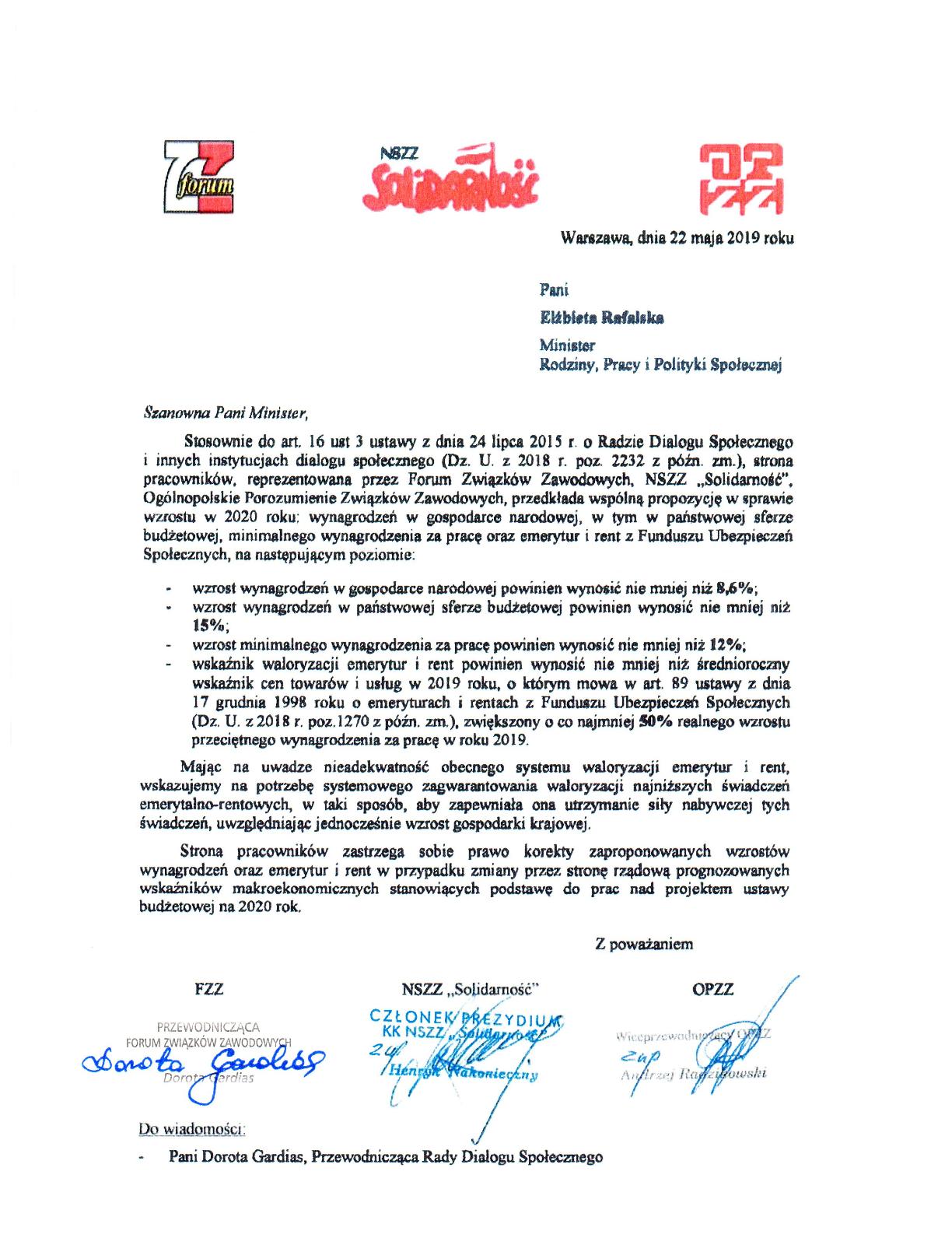 Pismo, które strona związkowa wystosowała do szefowej resortu rodziny, pracy i polityki społecznej 22 maja 2019 r. (źródło: materiały prasowe związków zawodowych)