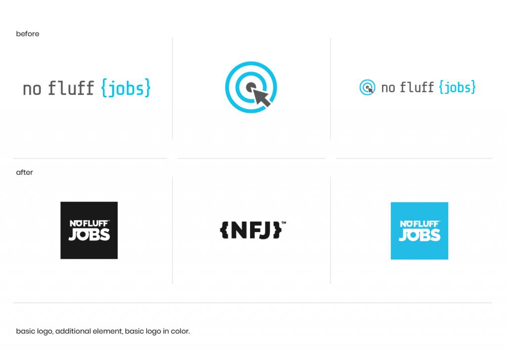 Porównanie graficznej identyfikacji portalu No Fluff Jobs przed (powyżej) i po (poniżej) zmianie. (źródło: materiały prasowe)