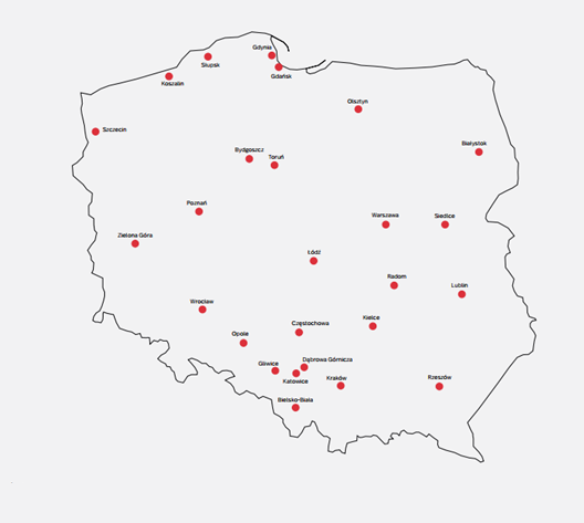 Mapa zawiera zaznaczone miasta należące do zestawienia Top 26 Akademickości, który przygotował PIE. (źródła: PIE/opracowanie własne/materiały prasowe)