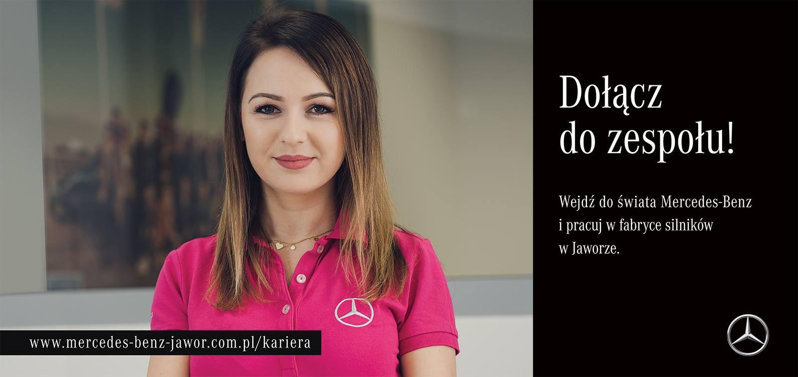 Baner promujący rekrutację Mercedesa do fabryki w Jaworze. (fot. Mercedes Polska/materiały praoswe/media.daimler.pl)