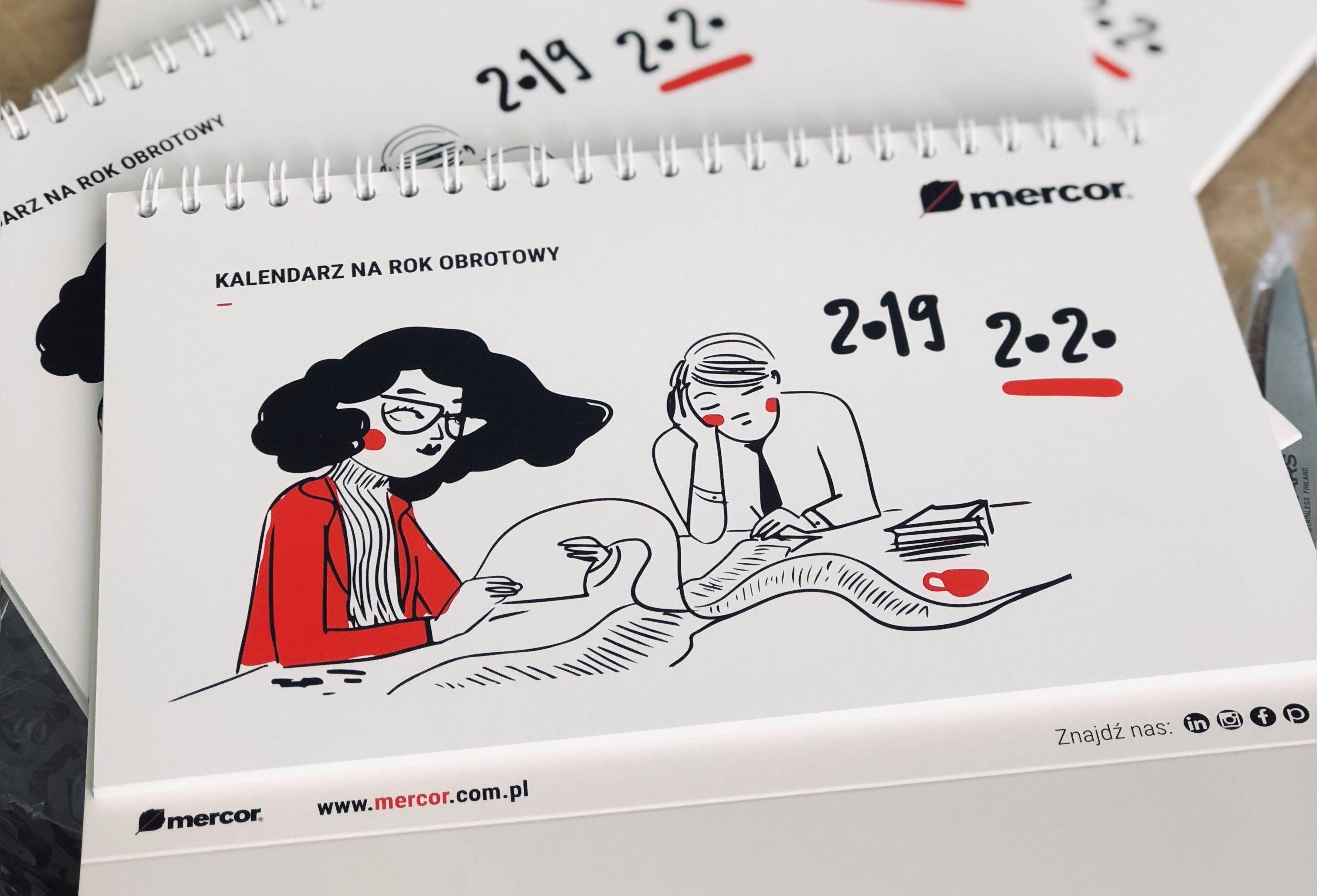 Kalendarz na biurko z rysunkami , który otrzymują w tym roku pracownicy Mercora (Fot. mat. pras.)