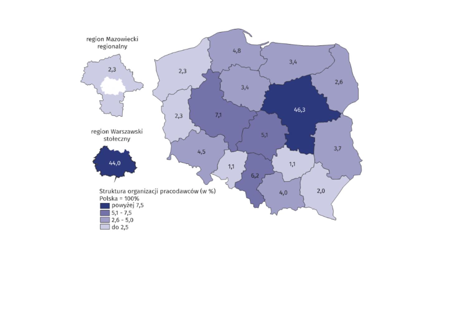 Organizacje pracodawców według województwa, w którym miały siedzibę w 2018 r. (źródło: materiały prasowe GUS)