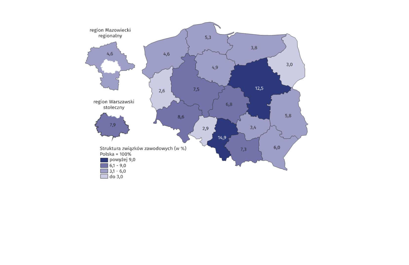 Związki zawodowe według województwa, w którym miały siedzibę w 2018 r. (źródło: materiały prasowe GUS)