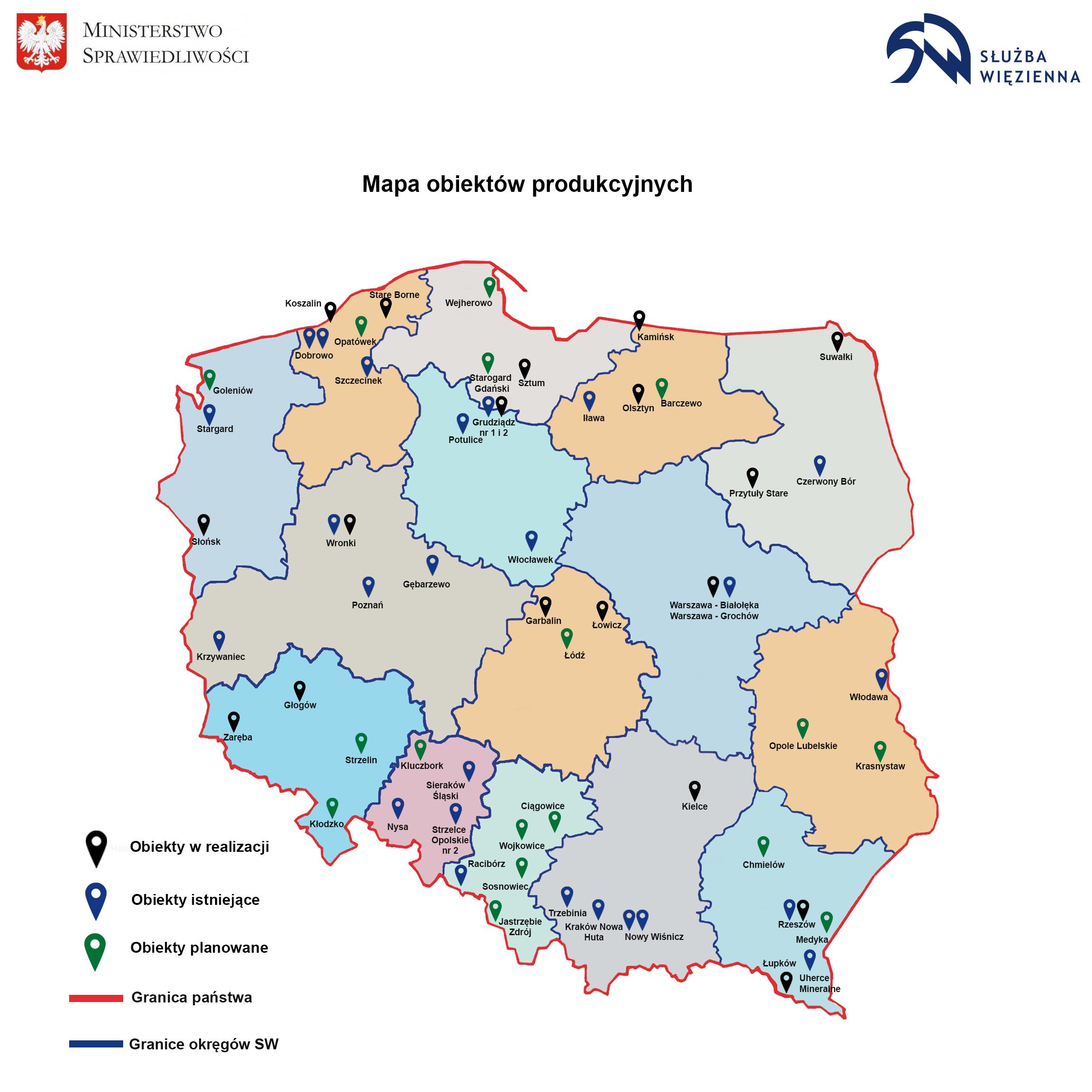 Praca Więźniów. Mapa planowanych realizacji hal produkcyjnych na 7 lat (fot. sw.gov.pl)