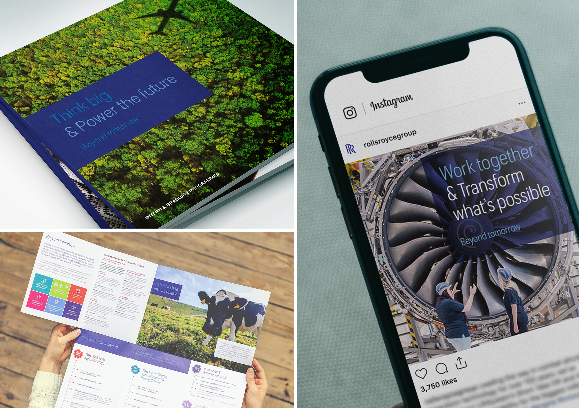 Przykłady realizacji wykonanych w ramach kampanii Blackbridge Communications dla Rolls-Roycea. (fot. blackbridge.co.uk)