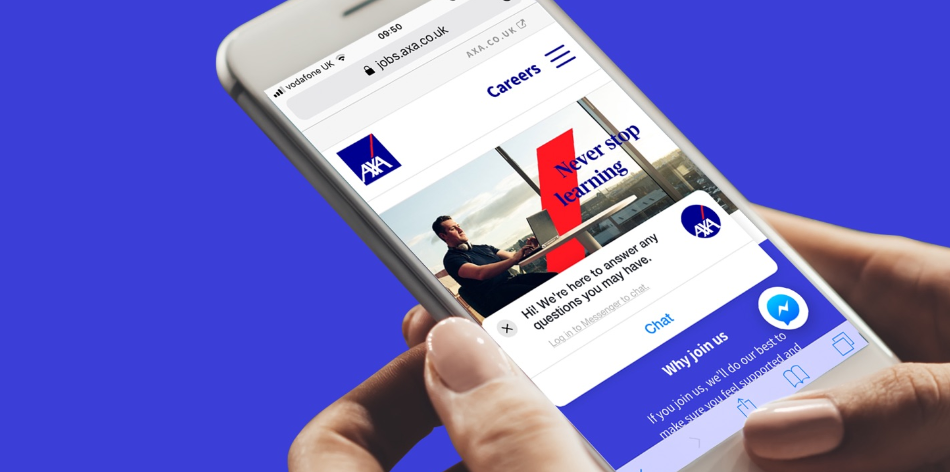 Mobilna wersja strony rekrutacyjnej Axa. (fot. thirtythree.co.uk)