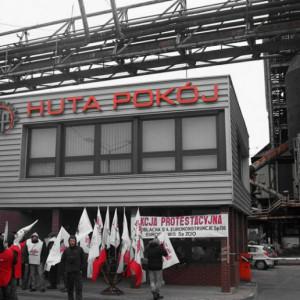 Związkowcy Huty Pokój protestują, zarząd uspokaja