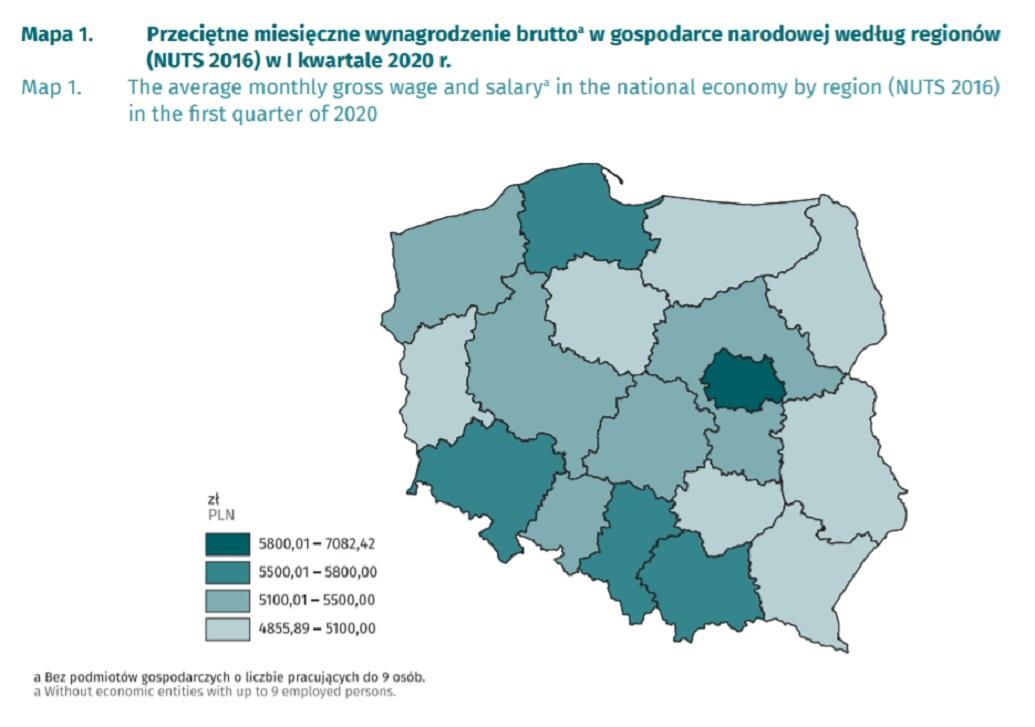 Przeciętne miesięczne wynagrodzenie brutto w gospodarce narodowej według regionów (Fot. GUS).