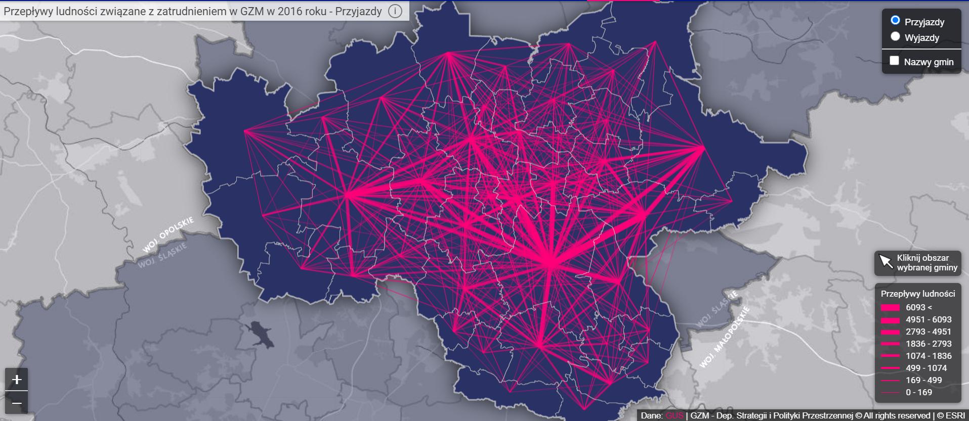 Przepływy ludności związane z zatrudnieniem na terenie GZM (Fot. InfoGZM)