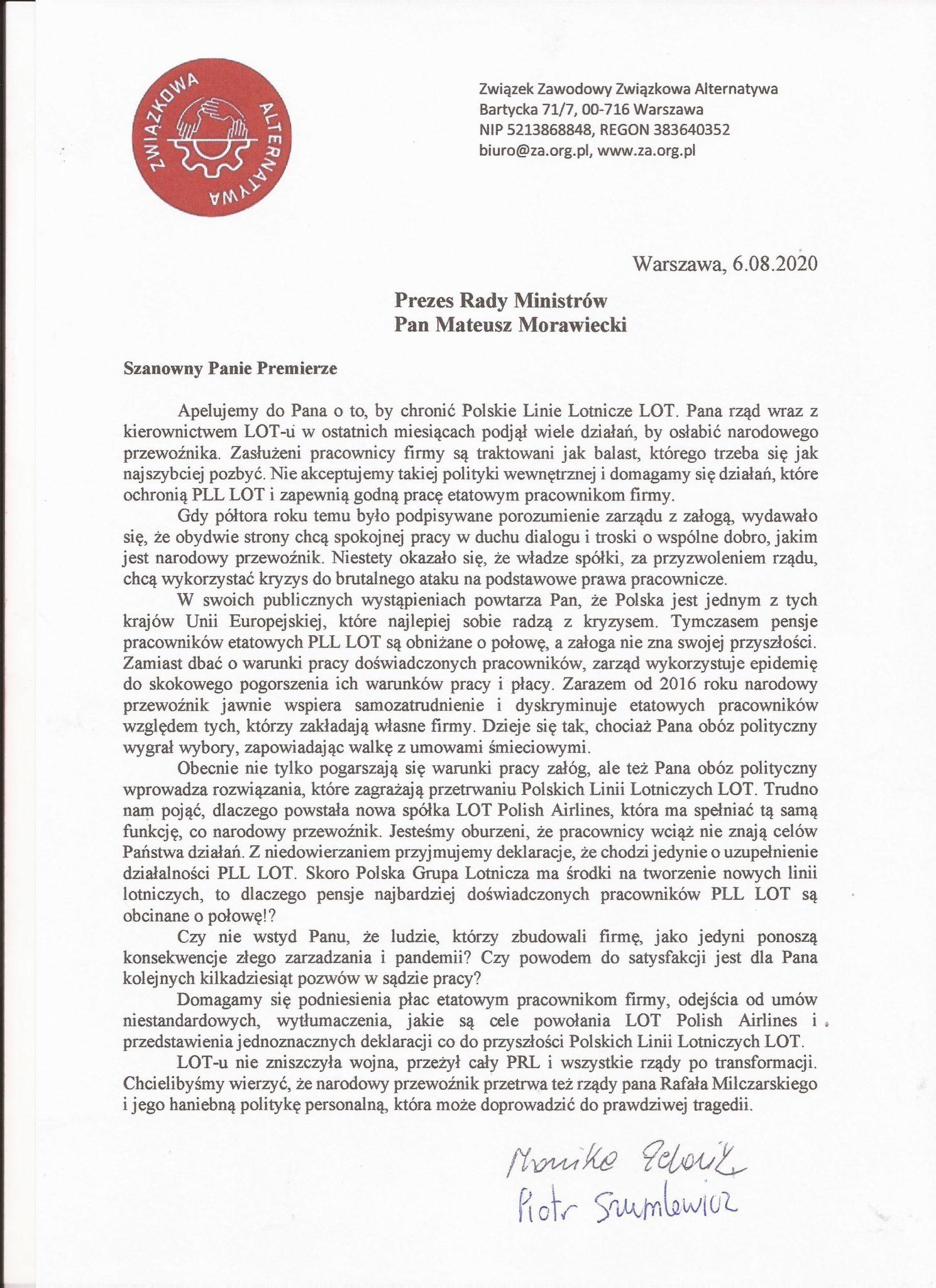 List związkowców do premiera (Źródło: Związkowa Alternatywa)