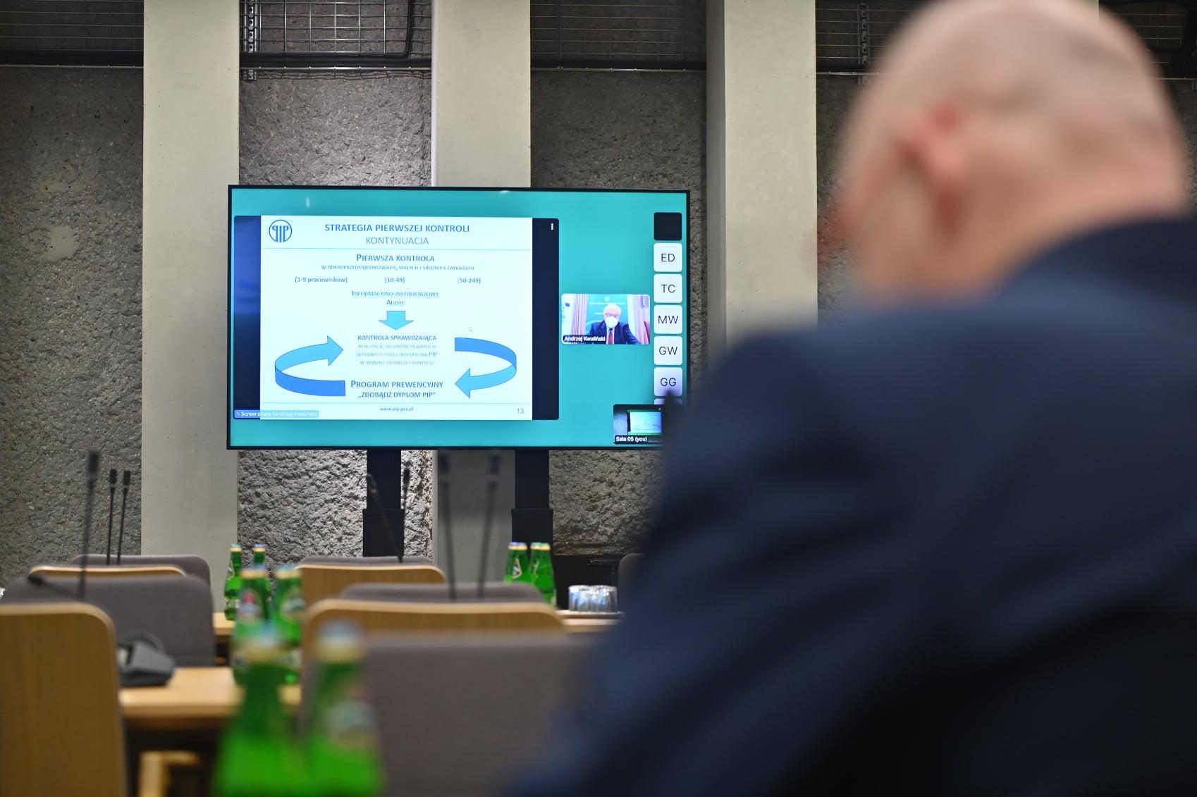 Posiedzenie sejmowej Komisji ds. Kontroli Państwowej. W 2021 roku PIP planuje przeprowadzić 52 tys. kontroli - dużo mniej w 2019 roku. Są tego przyczyny... (fot. Facebook/ Sejm Rzeczypospolitej Polskiej)
