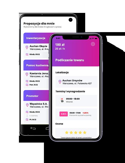 Makieta aplikacji Fitjob wyszukuje oferty pracy dla studentów (fot. mat. pras.)